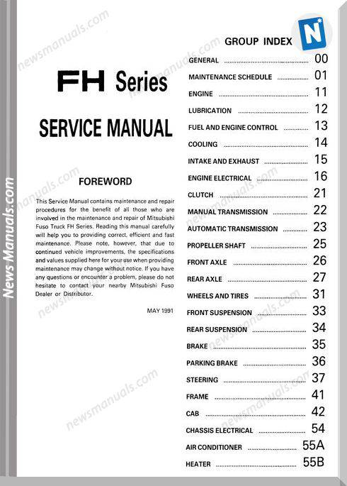Mitsubishi Fuso 1992 95 Fh Service Manual