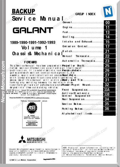 Mitsubishi Galant 1989 1993 Service Manual