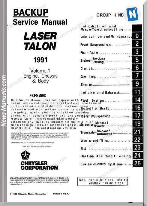 Mitsubishi Laser Talon 1991 Service Manual