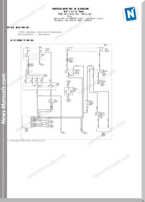Mitsubishi Montero Models 1994 Year Wiring Diagram