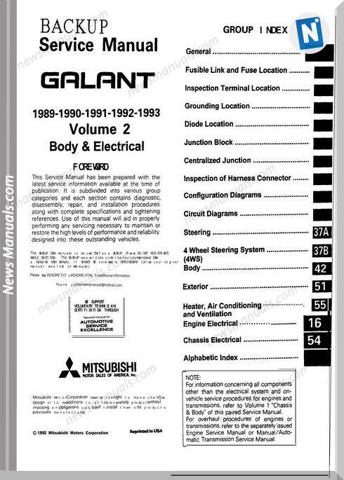 Mitsubishi Service Manual Galant Vol 1