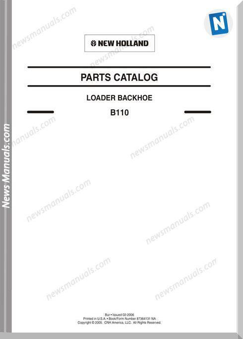 New Holland B110 Loader Backhoe Parts Manual
