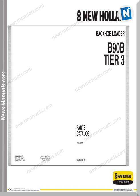 New Holland B90B Tier 3 Backhoe Loader Parts Manual