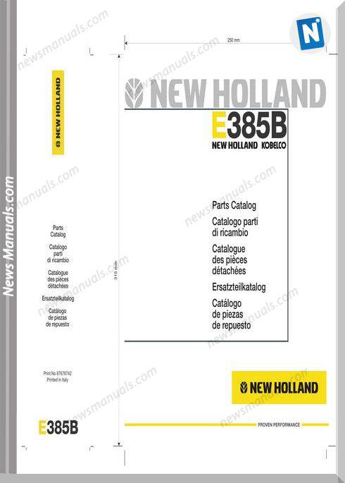 New Holland Crawler Excavator E385B Parts Catalogue