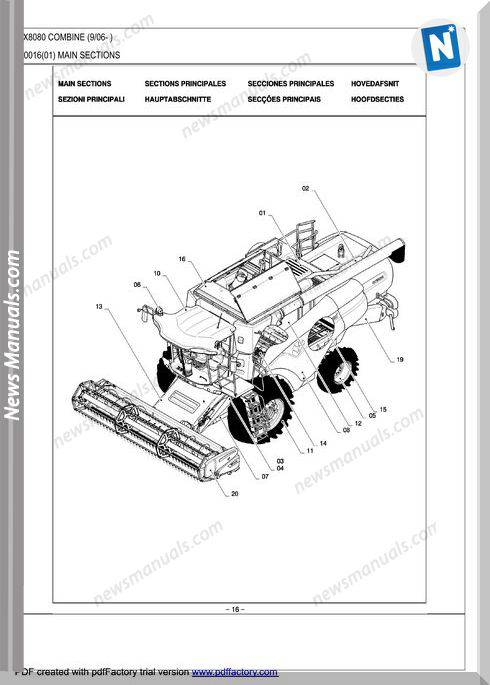 New Holland Cx8080 Combine Parts Catalog