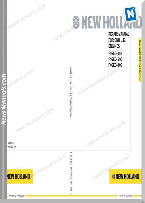 New Holland Engine F4Ge - Telehandler En Service Manual
