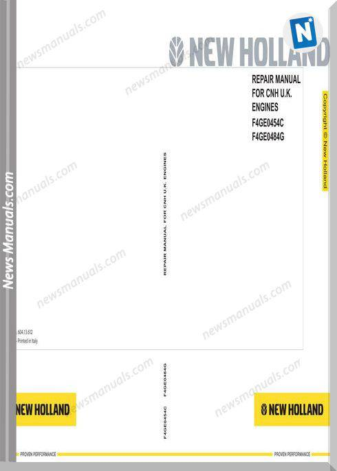 New Holland Engines F4Ge0454C F4Ge0484G Repair Manual