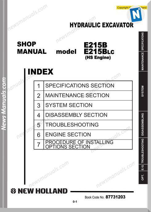 New Holland Excavator E215B Hs Russ En Service Manual