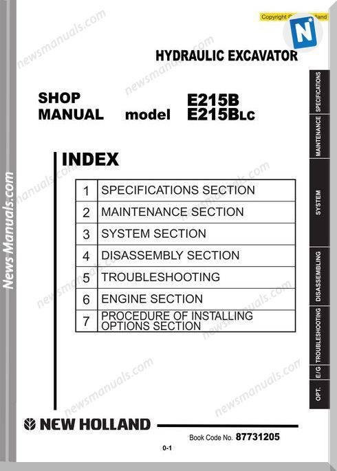 New Holland Excavator E215B T3 Afme En Service Manual