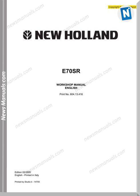 New Holland Excavator E70Sr En Service Manual