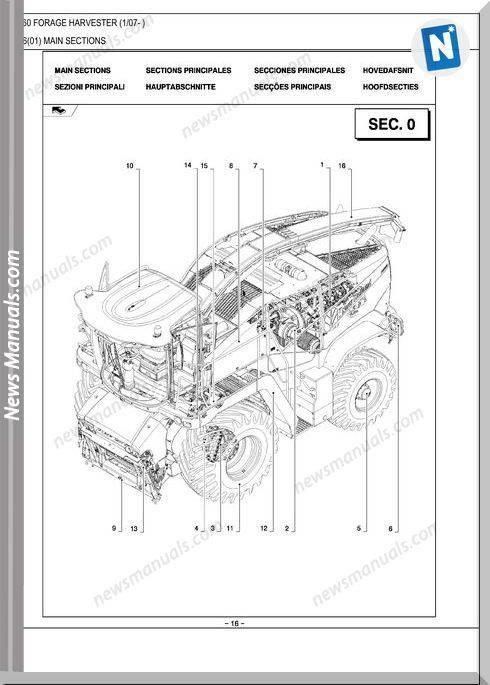 New Holland Fr9060 Forage Harvester Parts Catalog