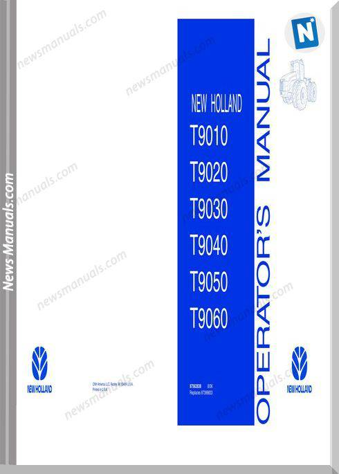New Holland Tractor Serie T90Xx Operator Manual