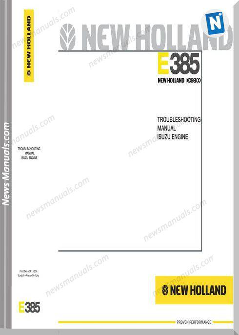 Newholland E385 Isuzu Engine Troubleshooting Manual