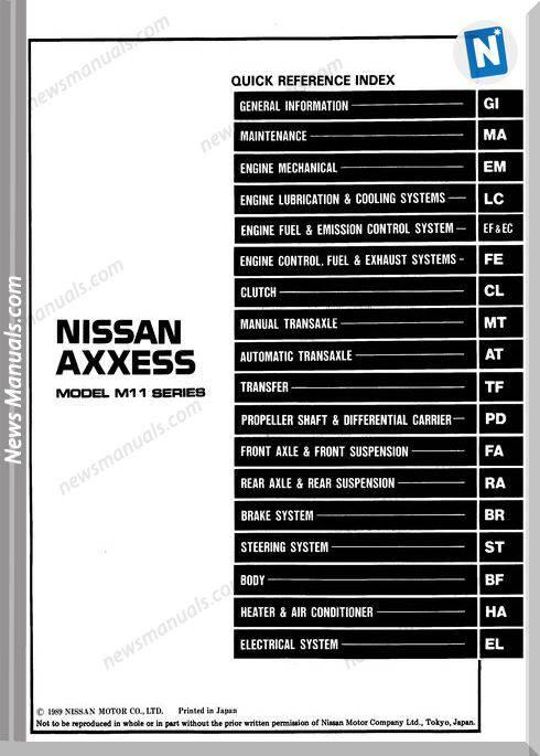 Nissan Axxess 1990 Factory Shop Manual