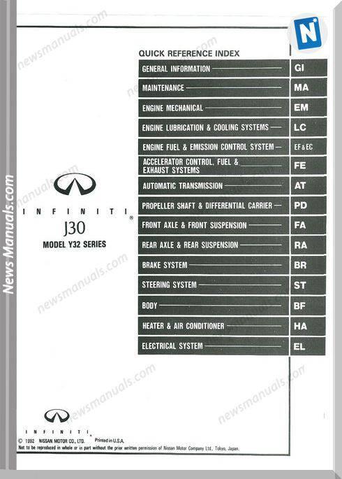 Nissan Infiniti J30 1993 Factory Shop Manual