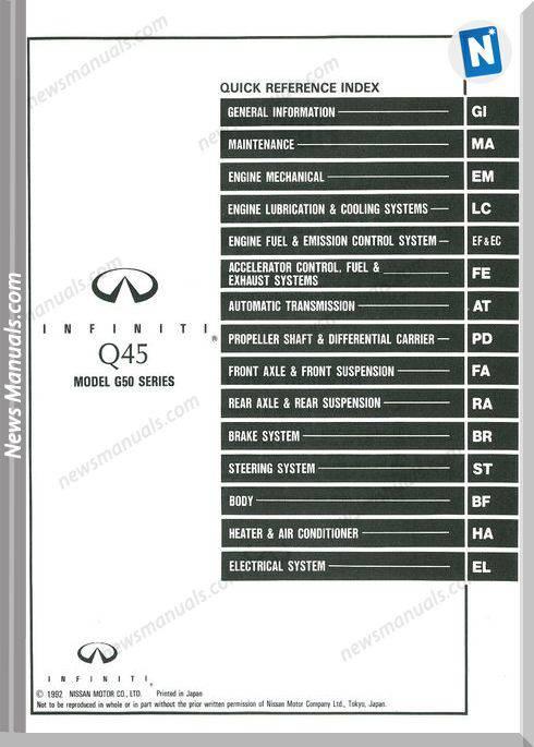 Nissan Infiniti Q45 1993 Factory Shop Manual