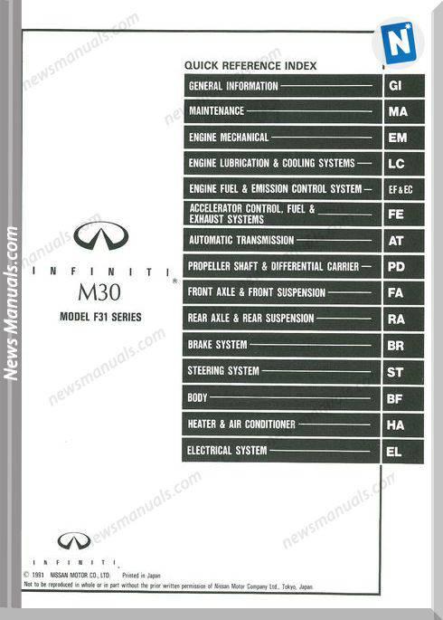 Nissan M30 1992 Factory Shop Manual Mini