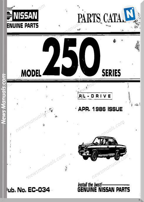 Nissan Parts Catalog Model 250 Series Apr 1986