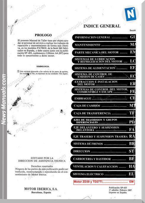 Nissan Patrol 260 Service Manual