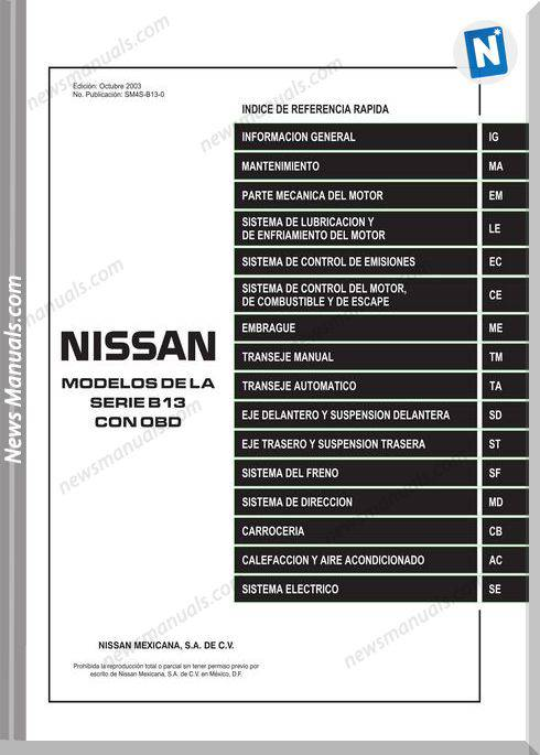 Nissan Sentra Or Nissan Tsuru V16 2010 Service Manual
