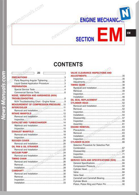 Nissan Zd30 And Td27Ti Engines Service Manual English