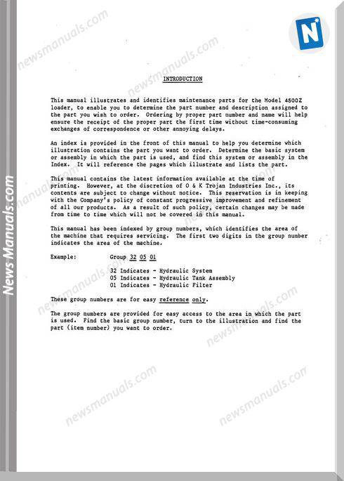 O K 4500z Models Part Manual