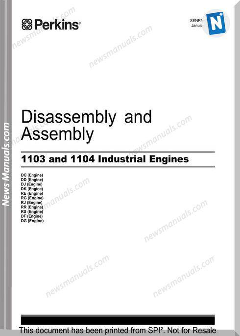 Perkins 1103 1104 Engines Assembly Training Manual