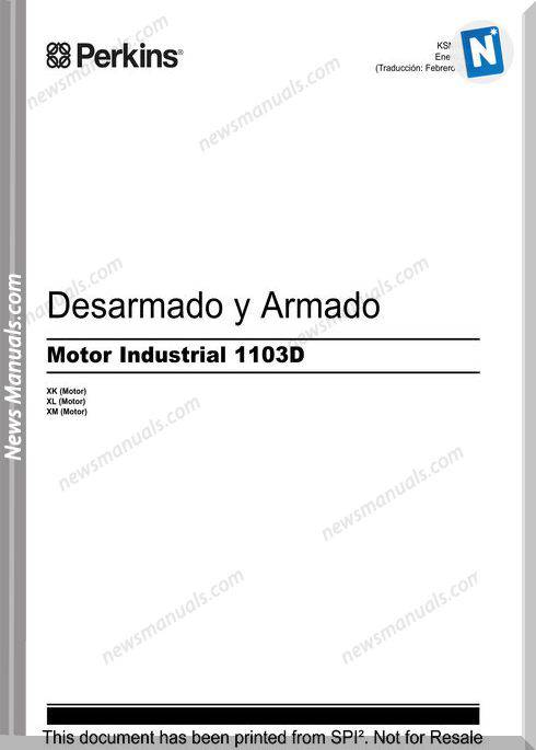 Perkins 1103D Motor Desarmado Armado Operation Manual