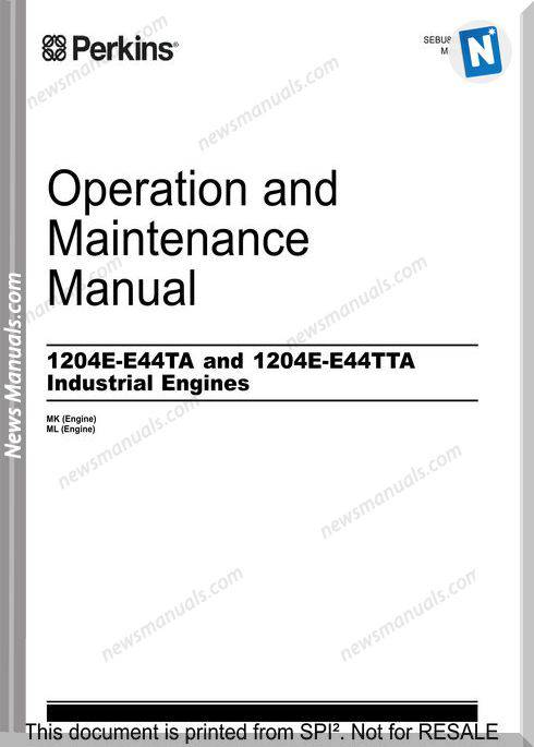 Perkins 1204E E44Ta 1204E E44Tta Engine Maintenance Manual