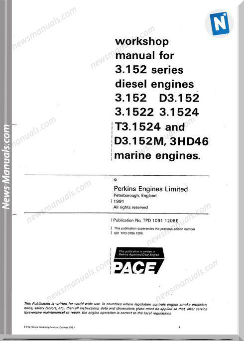 Perkins 3 152 Series Engine Workshop Manual