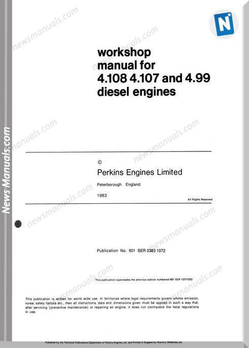 Perkins 4.107 4.108 4.99 Engine Workshop Manual
