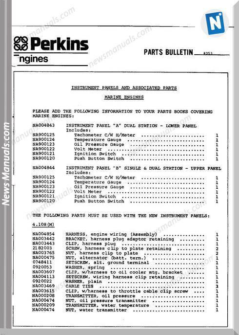 Perkins 4 154 Marine Parts Manual
