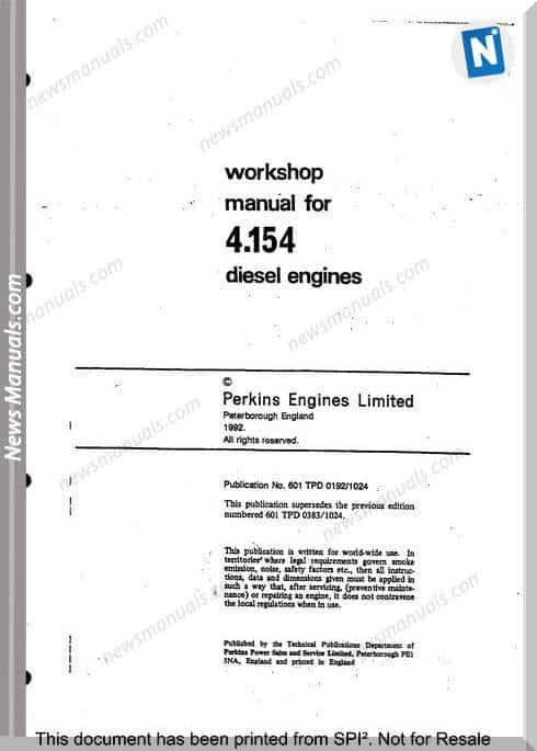 Perkins 4.154 Series Workshop Manual