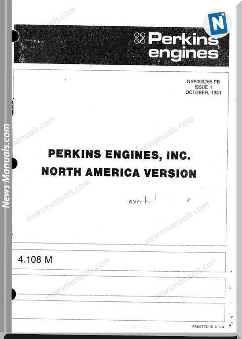 Perkins Engine 4.108M Parts Manual