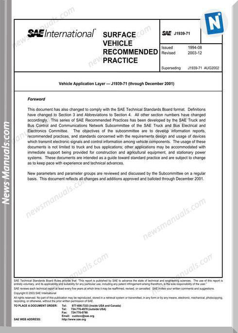 Sae International J1939-71 Models Application Layer Parts