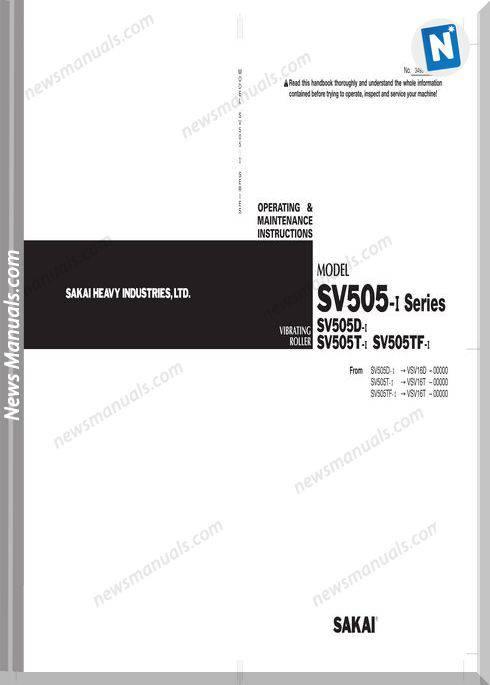 Sakai Sv505 1 Sv505D 1 Sv505T 1 Sv505Tf 1 Maintenance