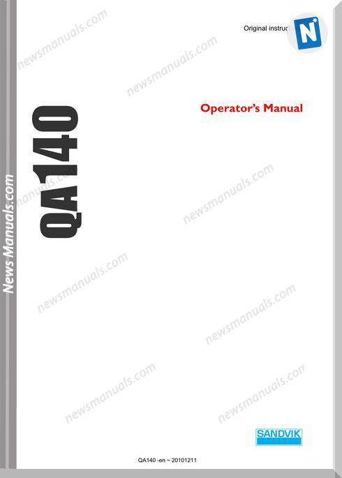 Sandvik Model Qa140 Operators Manuals