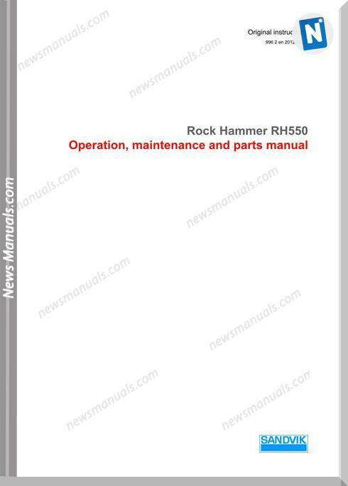 Sandvik Model Rh550 Operators Manuals