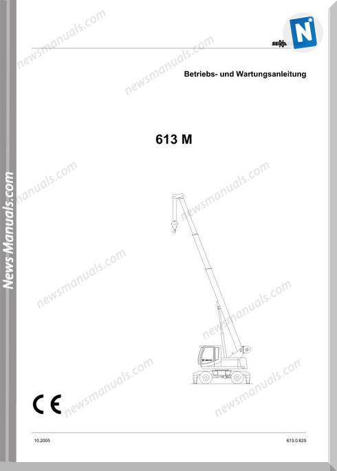 Senneboge Crane 613 M 0.625 De Language Operator Manual
