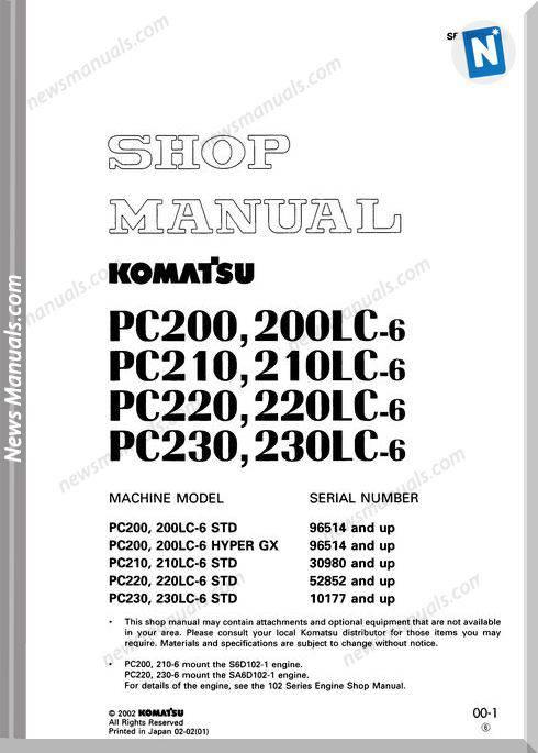 Shop Manual Komatsu Pc200-6,Pc210-6,Pc220-6,Pc230-6