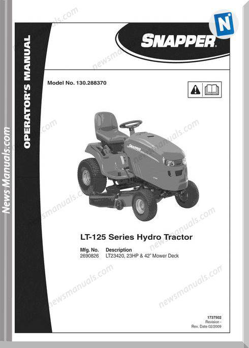 Snapper Tractor Lt125 Series Hydro Operator Manual