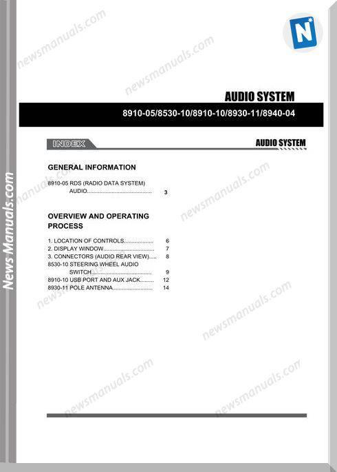 Ssang Yong Korando Actyon 2010 2013 Audio Cd1 Repair Manual
