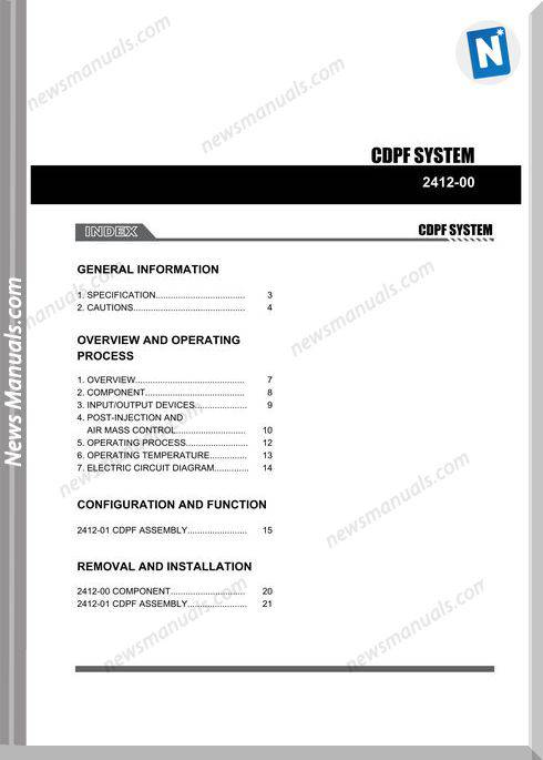 Ssang Yong Korando New Actyon 2010 2013 Cdpf System Repair Manual