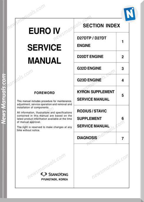 Ssangyong Model Euro Iv Service Manual