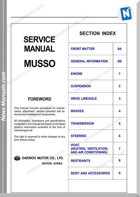Ssangyong Musso 99 Service Manual