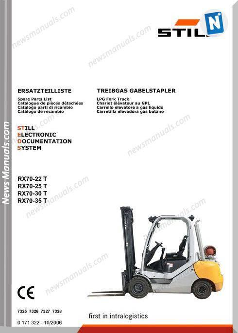 Still Steds Lpg Fork Truck Rx70 22T Rx70 25T Rx70 30T Rx70 35T Parts Manual