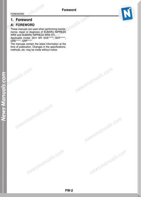 Subaru 2011 Sti Service Manual