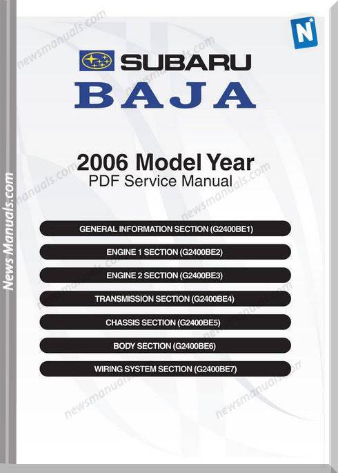 Subaru Baja B12 Low 2006 Service Manual
