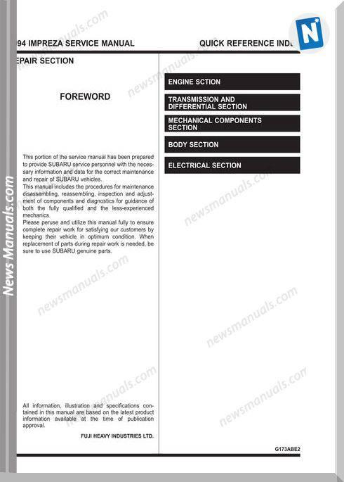 Subaru Impreza G10 1994 Service Manual