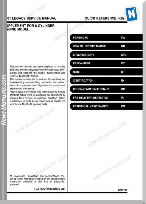 Subaru Legacy B12 2001 English Ez30 Service Manual